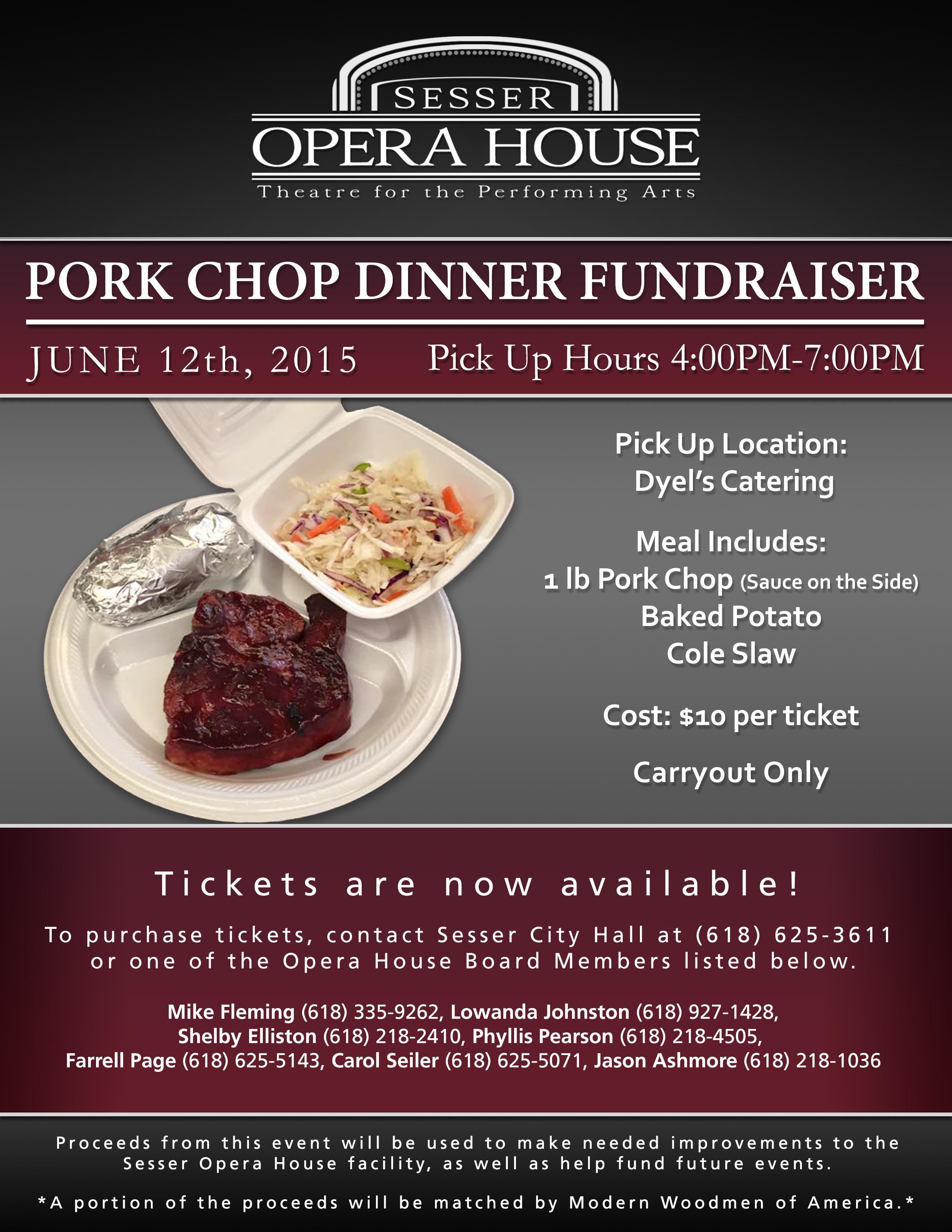 Porkchop Dinner Fundraiser Flyer